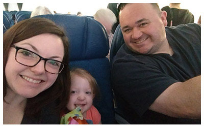 Happy Family on Airplane.